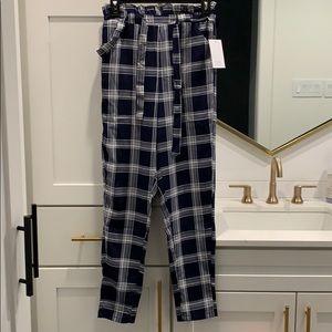 Paperbag tie waist plaid pants